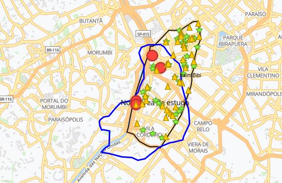 Shoppings no Distrito de Itaim Bibi - 3km área por deslocamento